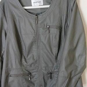 Olive Plus size Avenue Faux Leather Jacket18/20